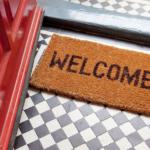 welcome mat at the door