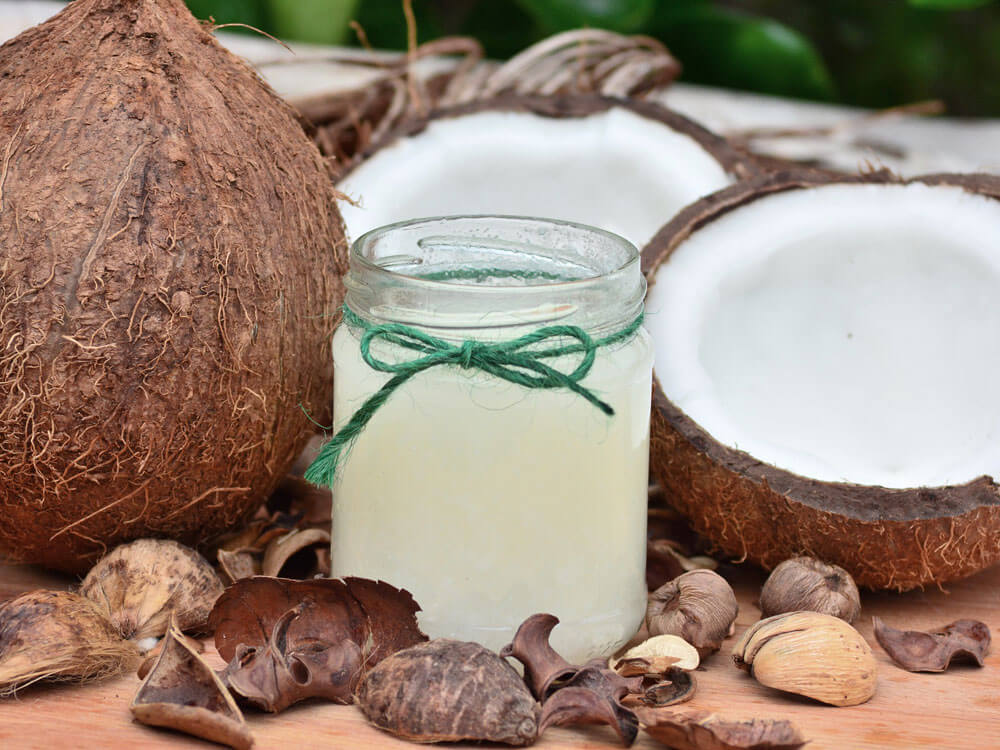 coconut oil, helps to get rid dog's bad breath