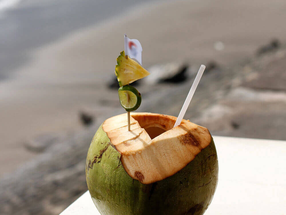 coconut water, which is good for dogs