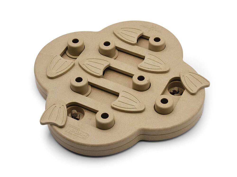 A hide and slide puzzle toy that will make puppies and dogs enjoy to navigate