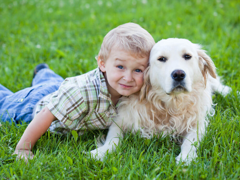 A kid, with his pet dog, lying in the grass