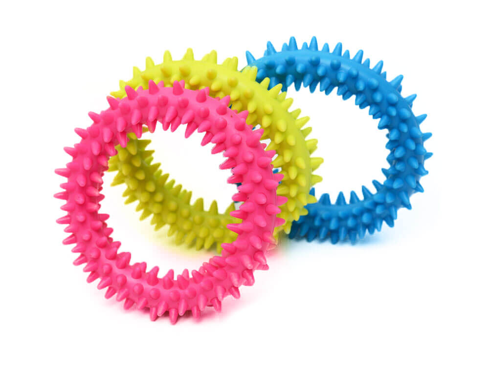 A puppy teething ring that will help the oral health of puppies