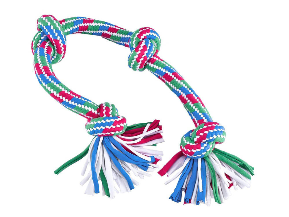 t-shirt rope toy, made for puppies