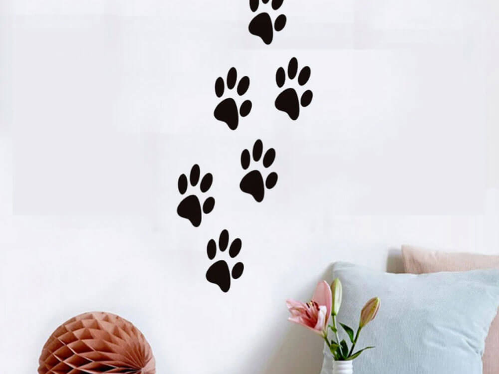 a simple DIY paw print wall art
