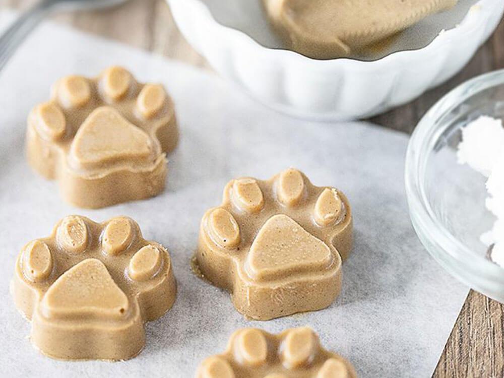 an easy homemade peanut butter coconut oil dog treat