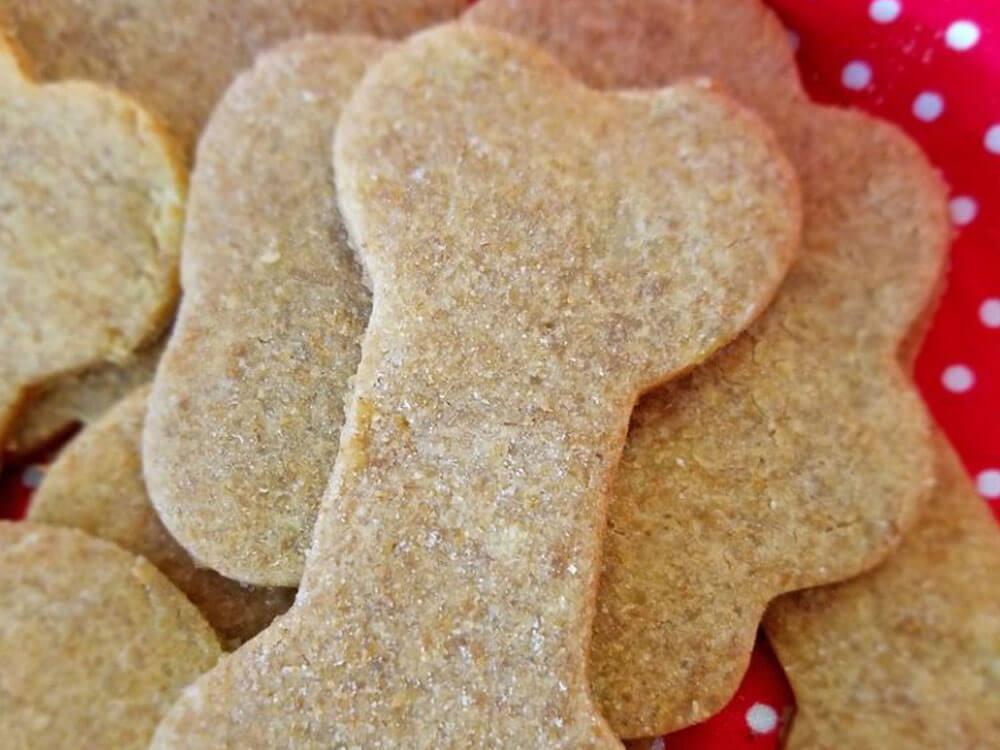 an easy homemade sweet potato peanut butter dog treat