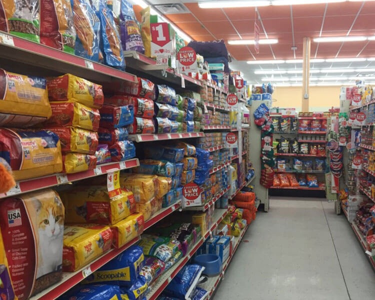 pet food supplies in a store