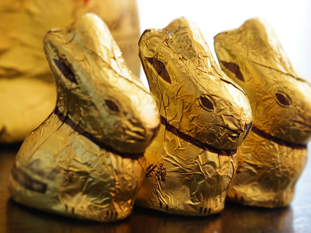 chocolate bunnies being sold during the easter holidays