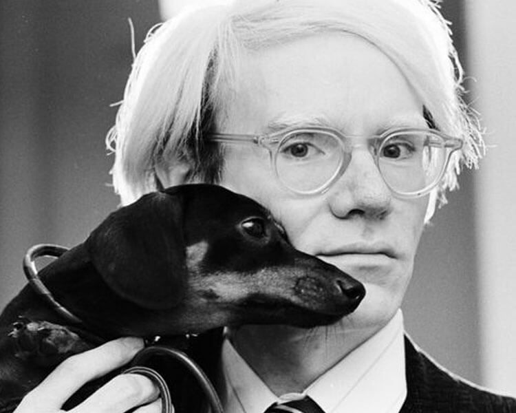 andy warhol with his dog, archie