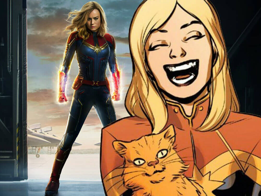 Carol Danvers with cat, Goose, from the comic and her own character in the background of captain marvel movie.
