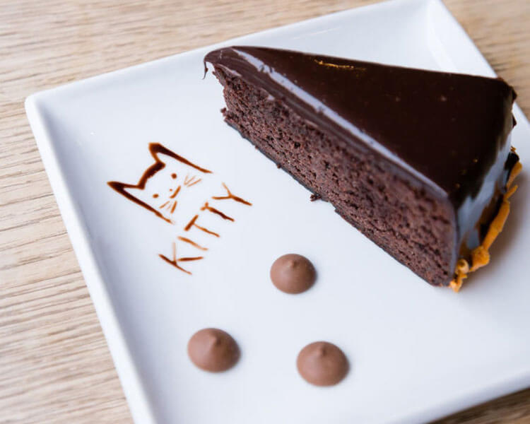 a chocolate cake, one of the menus of Kitty Café in Birmingham