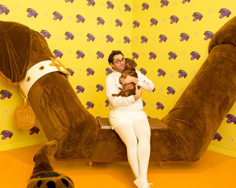 david capra with his dog, teena