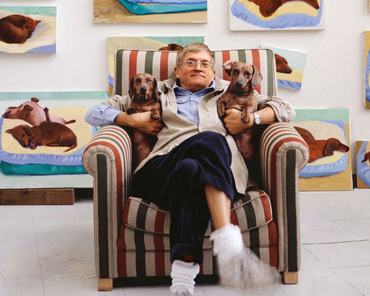 david hockney with his dogs, stanley and boggie