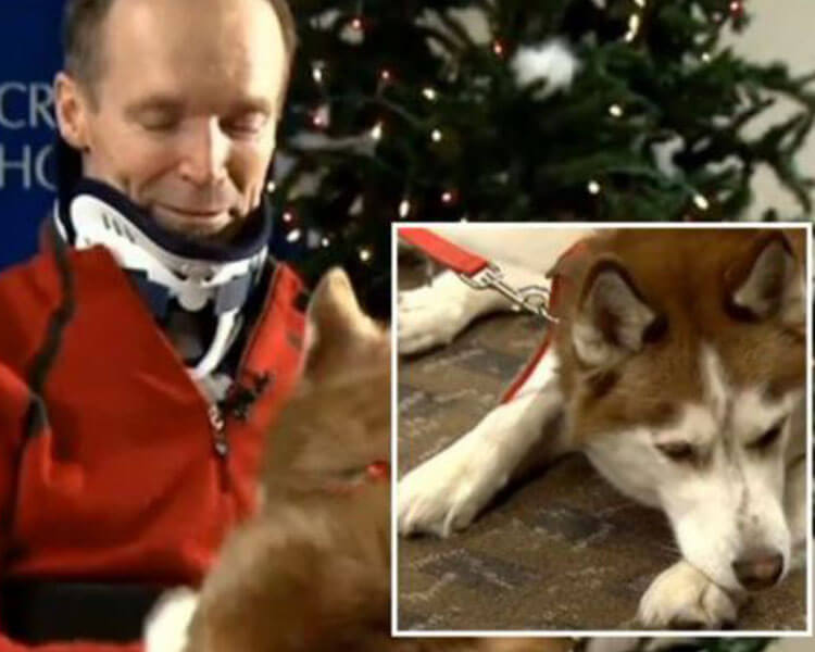 Leonard Somers with his dog Juneau, who saved him from his skiing trip