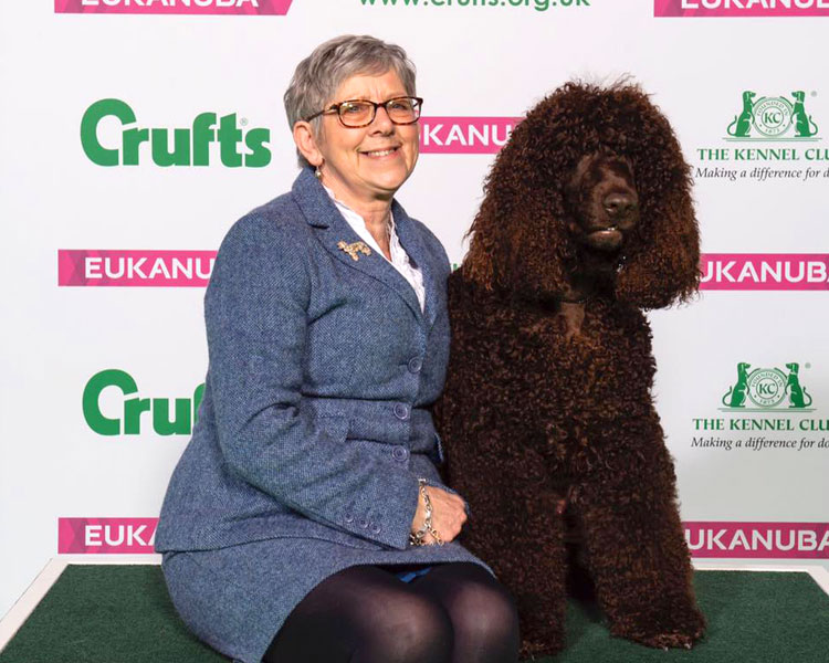 dog luther and his owner judith carruthers posed for a photo in crufts 2019 dog show