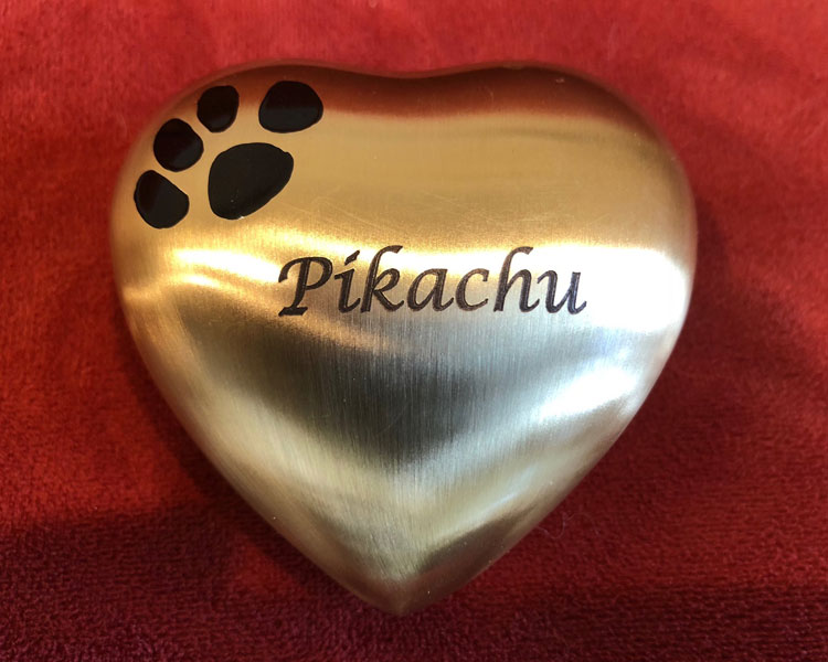 heartshaped item with Steve Munt's cat name, Pikachu