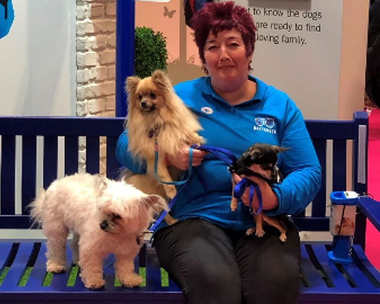 A charity volunteer posing with her dogs