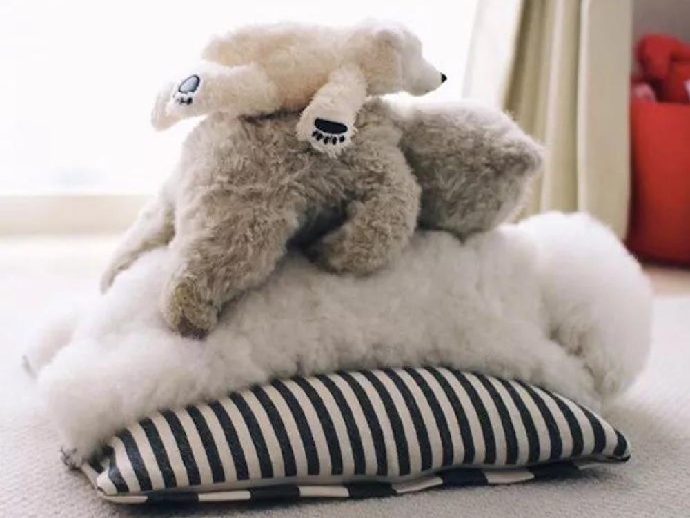 dog and teddy bears